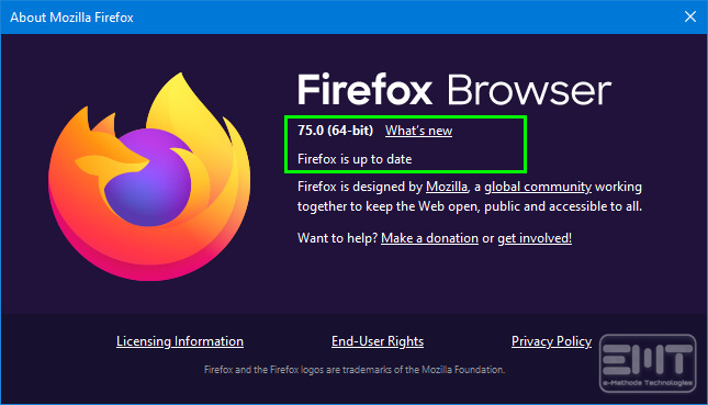 A window will open, If any update will be pending then you can update here or Yu will get a message Firefox is up to date