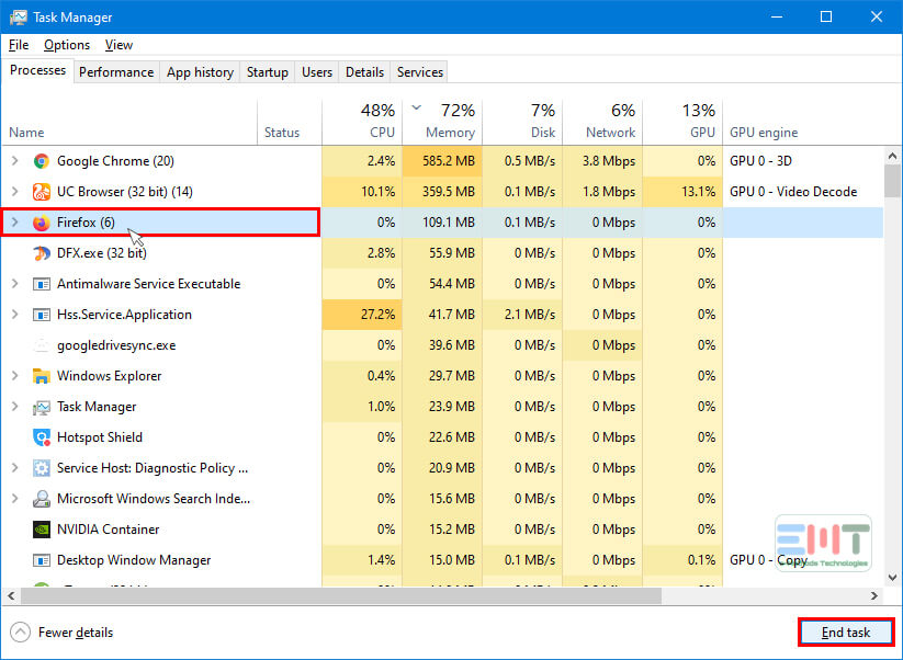 Under Processes find Firefox Browser and click on it