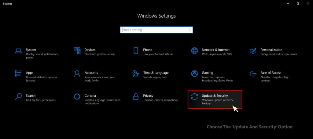 Windows 10Update & security option under windows settings