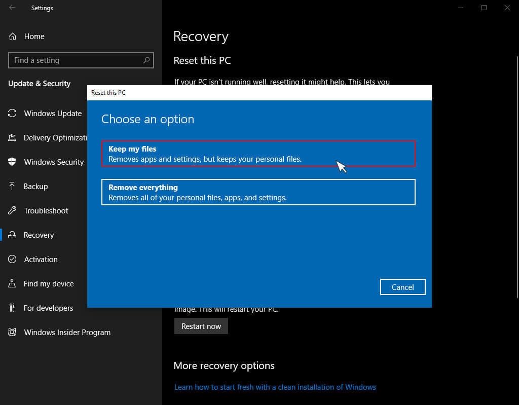 choose an option under Reset this pc in windows 10