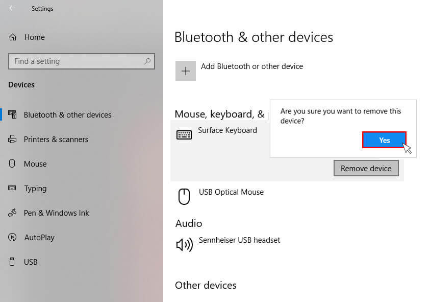 Confirm surface keyboard device removal from device list in windows 10