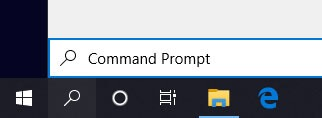 Searching Command Prompt In The Search Box On The Taskbar of windows 10