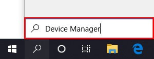 Searching Device Manager in the search box on the taskbar of windows 10
