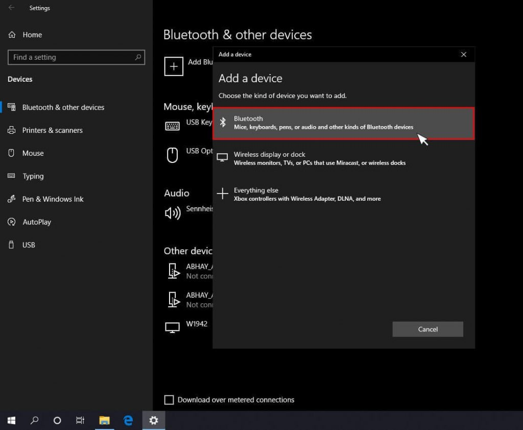Add a device option list in windows 10