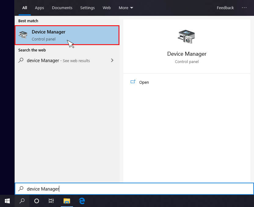 Selecting Device Manager in windows 10