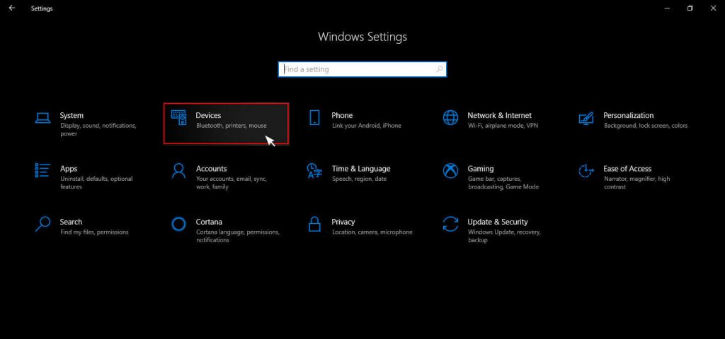 Selecting devices under windows settings menu in windows 10