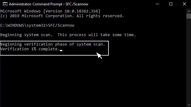System scan started in windows 10