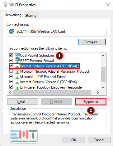 new windows appear to choose internet protocol 4 (TCP/IPv4) and click on Properties button