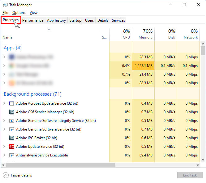 Click Process Tab of task manager