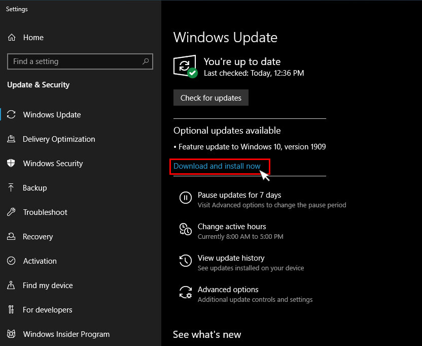 Click on Download & Install now from update & security in windows 10