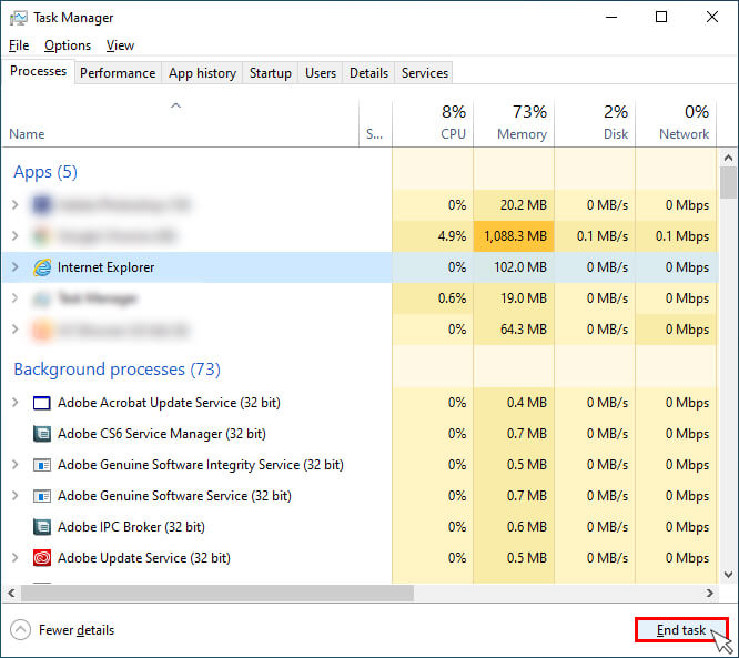 click End Task In The Bottom Of The Task Manager