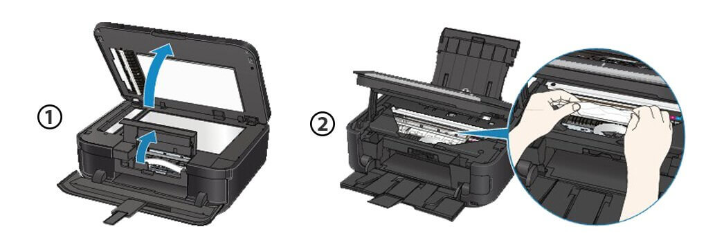 Open canon Printer Output Cover & Ensure There Is No Piece Of Paper Inside