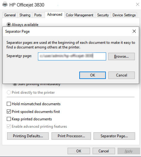 hp printer Separator page window