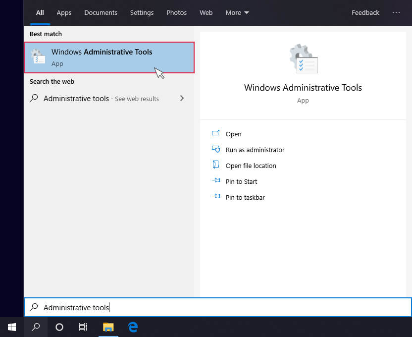 Windows 10 administarative tools search window