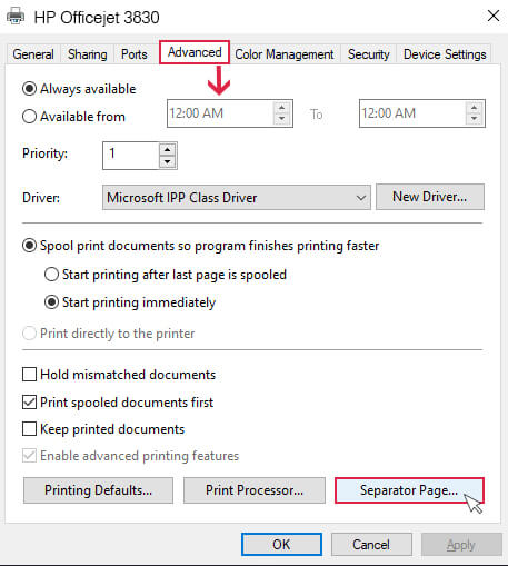hp printer properties window