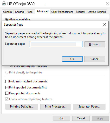 hp printer separator page deletion