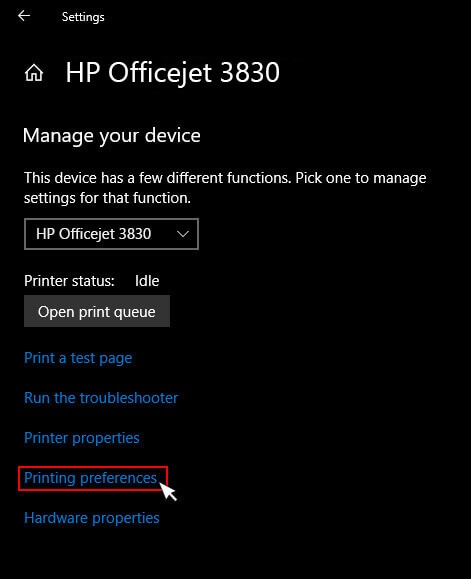 Printing Preferences of hp envy printer Prints blank pages