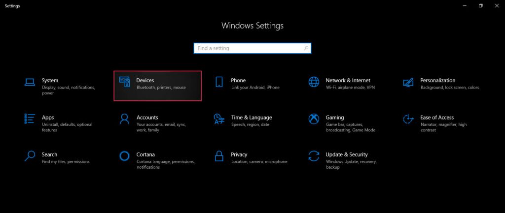 windows settings selection option
