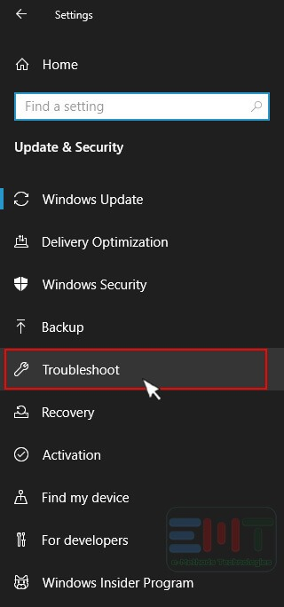 Click on The Troubleshoot Option from The Left Pane.