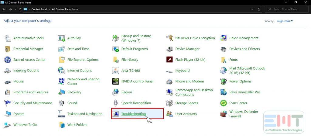 Click on Troubleshooting from control panel items list in windows 10