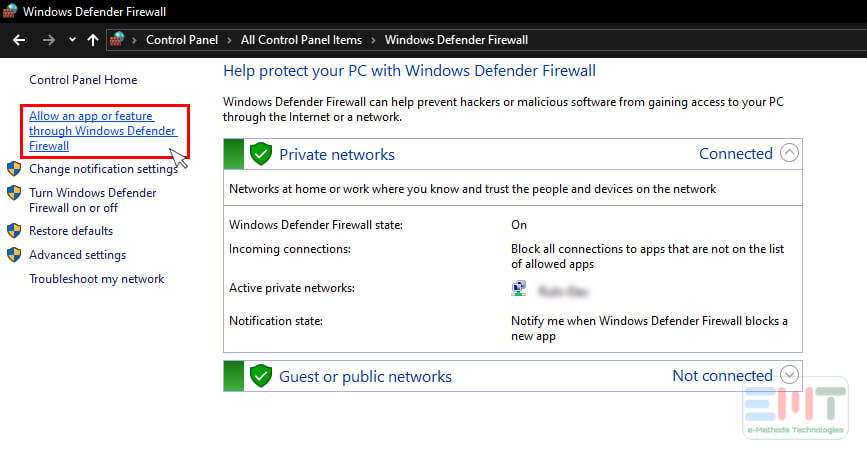 Click on the Allow an app or feature through Windows Defender in windows 10