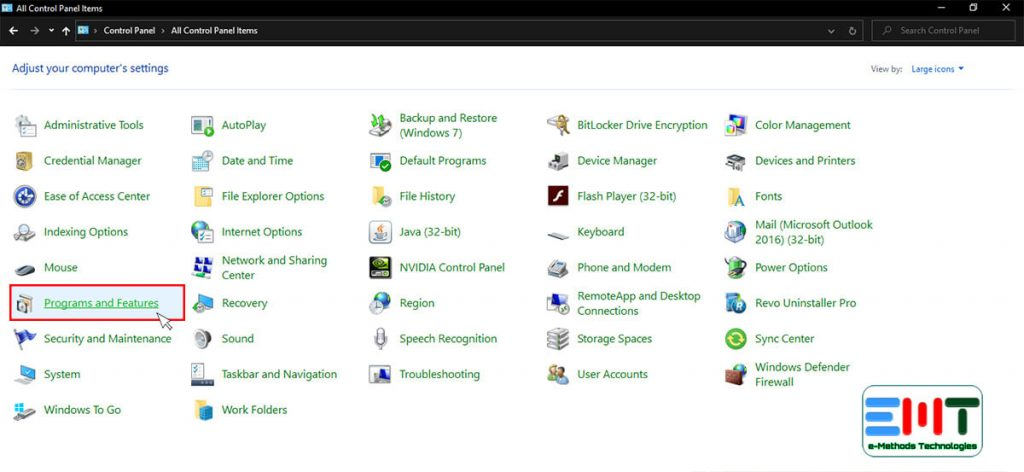 Click on the Programs and Features option from control panel items