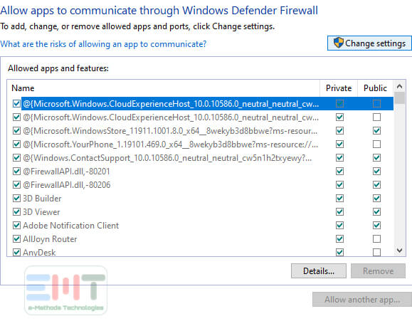 Click Change Settings of windows defender firewall