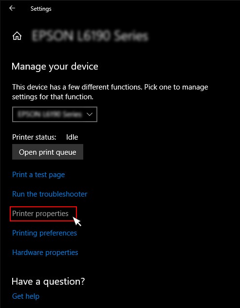 printer properties under manage devices windows 10 settings