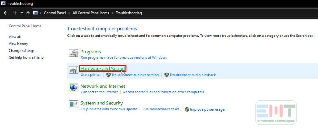Click Hardware and Sound under troubleshooting in windows 10