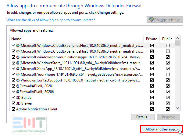 click on allow another app in windows defender firewall settings