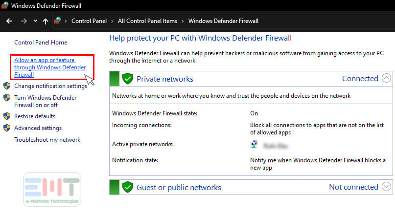 Now click on the Allow an app or feature through windows defender Firewall