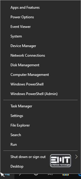 Right-click on the start menu to activate secret start menu in windows 10