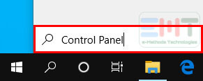 "Search ""Control Panel"" In The Search Box On The Taskbar."