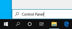Search Control Panel in The Search Box On The Taskbar of Windows 10