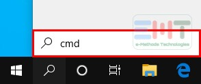 "Search ""cmd"" In The Search Box On The Taskbar"