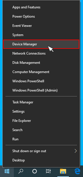 selecting device manager from right click menu of windows icon