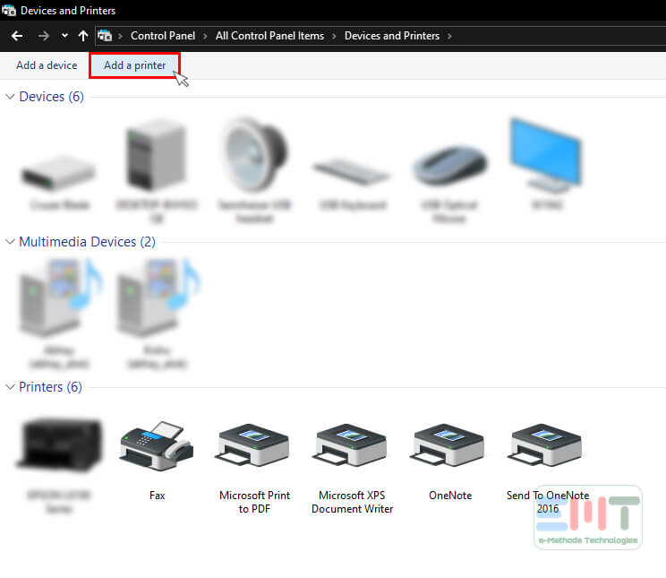 click on add printer under devices & printers window