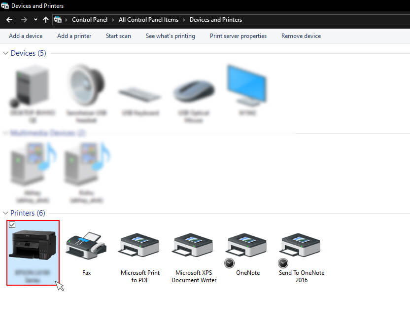 selecting Printer offline from the list of devices and printers in windows 10
