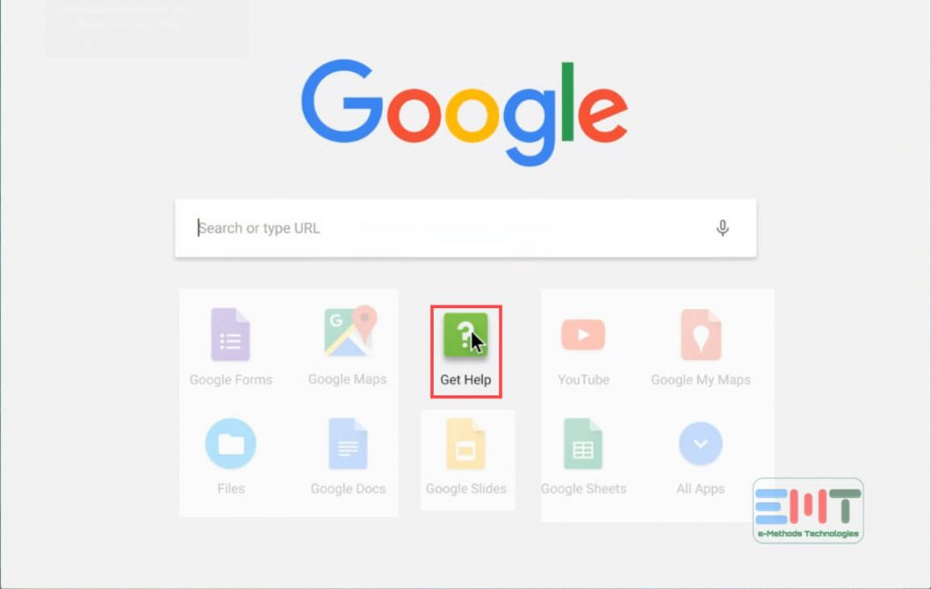 Choose the get help app from list of App on Chromebook