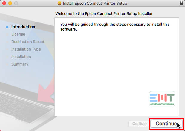 Click on continue in Epson Connect Printer setup Utility for Mac