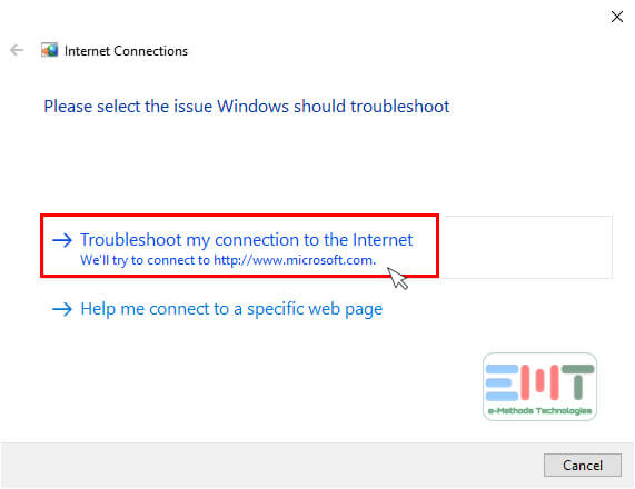 Click on Troubleshoot my connection to the internet to fix surface not connecting to wifi