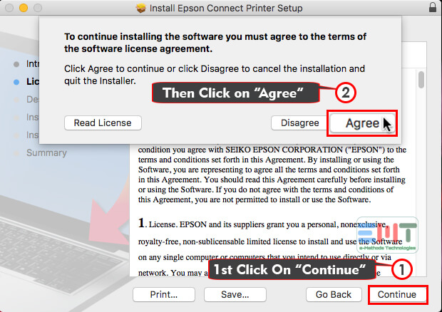 Click on agree to confirm installation of Epson Connect Printer setup Utility for Mac