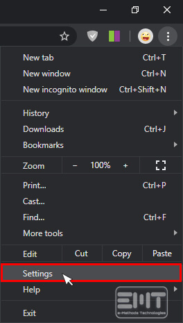 Click on the settings icon in the window