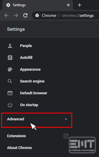 Expand the Advance menu in the left pane