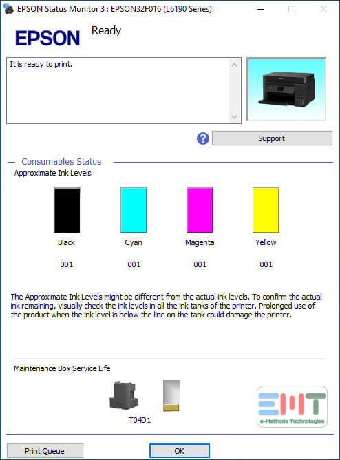 Showing level in the cartridges of epson printer not printing