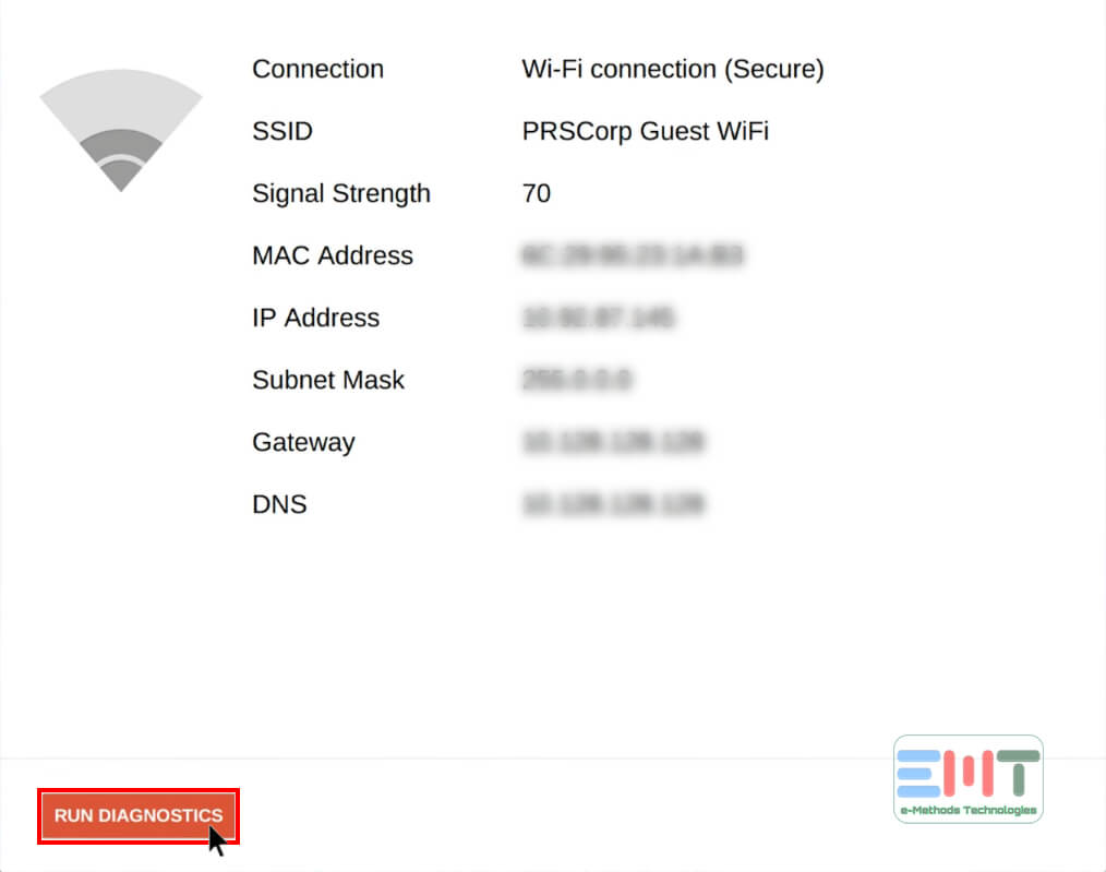 Select the Run Diagnostics button to fix Chromebook not connecting to wifi