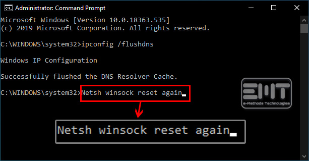 Netsh winsock reset again press enter