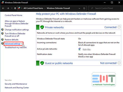 Click on advanced settings under windows defender firewall