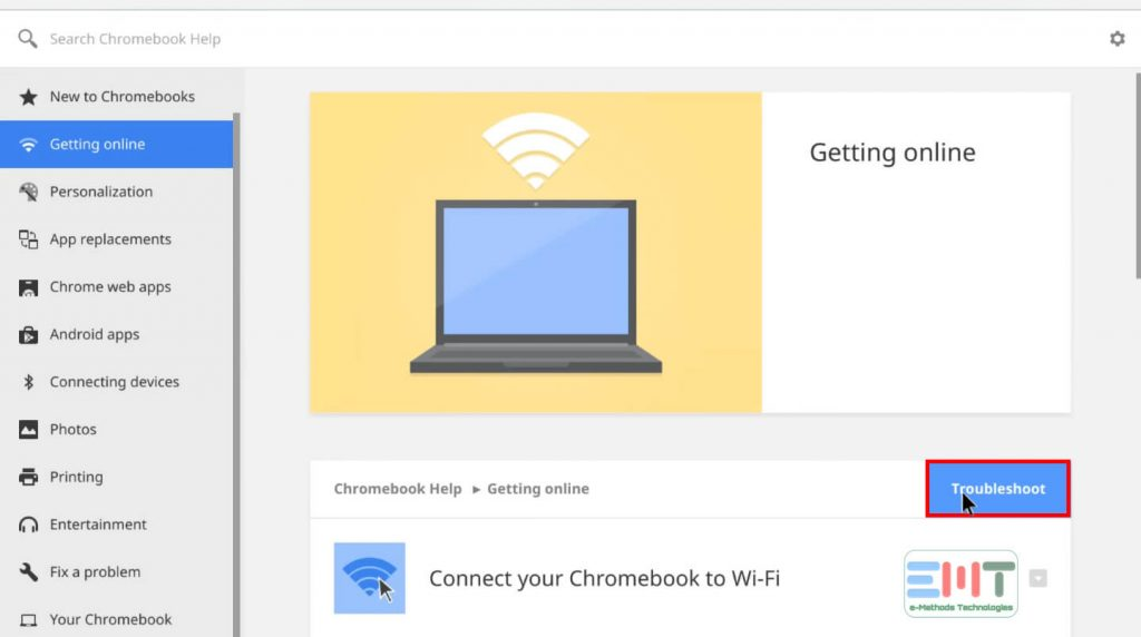 Click on the troubleshoot button on Chromebook