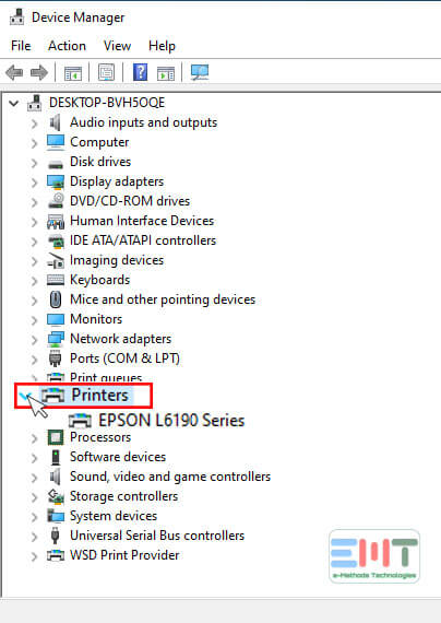 Click on printers under device manager in windows 10